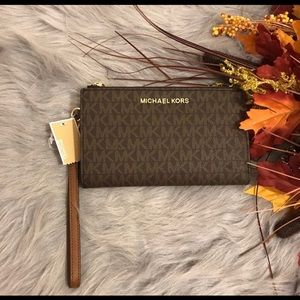 Michael Kors lg double zip wristlet